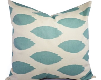 Blue Pillow Cover - Two Spa Blue Decorative Pillow Covers Light Blue and Beige - Throw Pillow Cushion Cover Accent Pillow