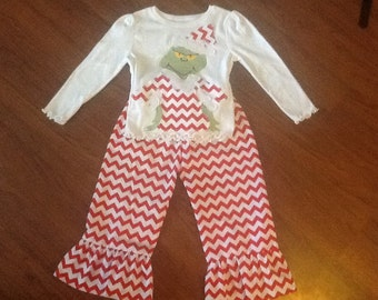 Grinch outfit  Top and Ruffle pants Christmas outfit   SO CUTE  2 3 4 5 6 7