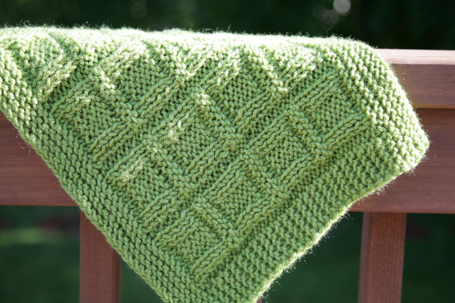 Green Mama Squares baby blanket/ afghan textured knit