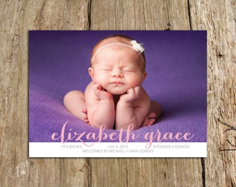Grace Photo Birth Announcement with big script name - DIY photo card - customize colors and photo