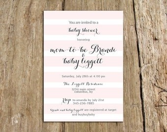 Subtle stripes baby shower invitation - customize with your colors and baby name - digital file