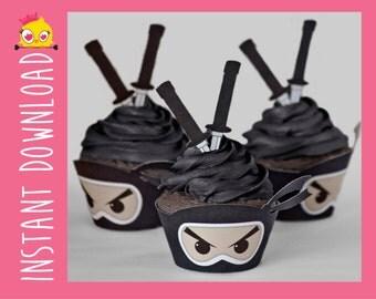 Kawaii Ninja Cupcake Wrappers & Toppers PDF