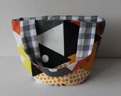 Geometric tote bag, small cotton bag with orange, grey, yellow and black print