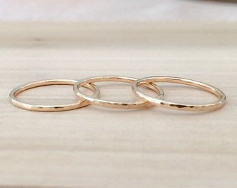 THIN Gold Stack Rings, 14k Gold Filled Stacking 3 Ring Set,Stacking Rings, Minimalist Jewelry, Gold Band, Hammered Rings