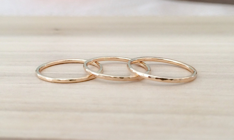 gold rings thin 14k gold filled stacking 3 ring set