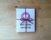 Fuschia Wreath Christmas Cards (set of 5)