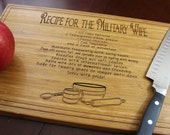 Personalized Engraved Cutting Board - Recipe for the Military Wife / Add your insignia, name, duty station
