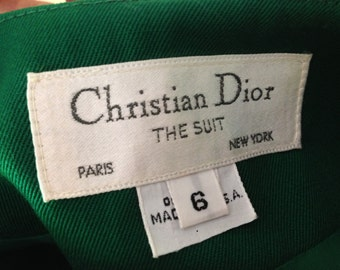 Vintage Christian Dior The Suit Paris New York Label Double Breasted Blazer with Pleated Skirt Suit Kelly Green