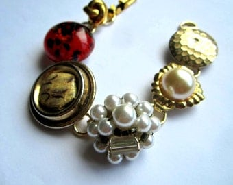 SALE *Repurposed /Upcycled Vintage Earrings in a Gold-plated Bracelet, Eco Chic Bracelet.
