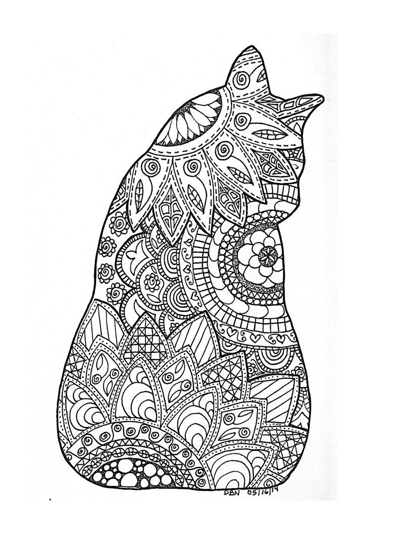 This is a picture of Gargantuan Adult Coloring Cat