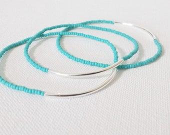 Turquoise bracelet, seed bead bracelet, aqua bracelet, stretchy bracelet, noodle seed bead bracelet, seed bead bracelet, minimalist bracelet