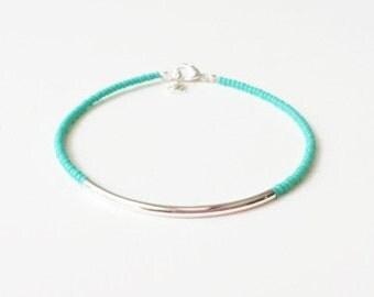 Turquoise bracelet, aqua bracelet, bracelet, noodle seed bead bracelet, seed bead bracelet, silver bracelet, minimalist, noodle bracelet