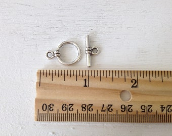 5 Pair Toggle Clasp, silver plated