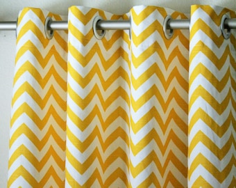 "Pair of 50"" wide cornmeal yellow and white chevron zig zag panels, drapes, curtains - option to add grommets 50x63"" 50x84"" 50x96"" 50x108"""