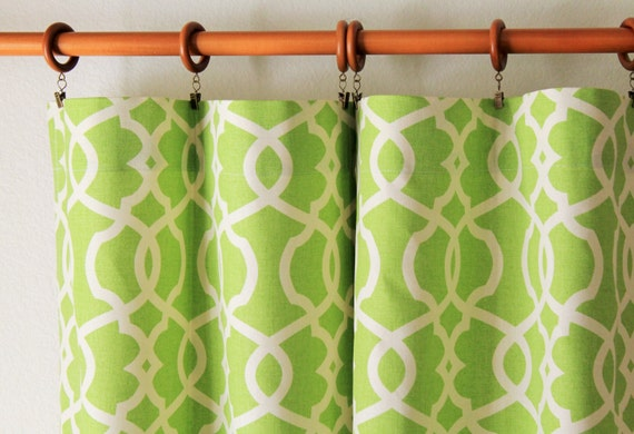 "Curtains-Pair of 50"" wide trelis rod panels, drapes in Magnolia Emory lime green- grey brown blue tan taupe - 50x63"" 50x84"" 50x96"" 50x108"""