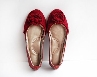 Handmade leather ballet flat shoes burgundy dark red woven wool custom made