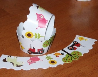 SALE 24 Barnyard Farm Cupcake Wrappers Wraps