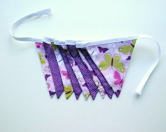 Purple Butterfly Pennant Banner