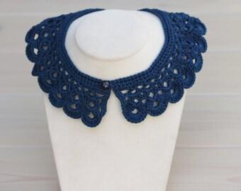 Navy blue crochet peter pan collar necklace - crochet neckpiece - women collar crochet