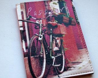 Mother Day gift - Leather Passport Cover - Passport holder - Passport Wallet - Passport Case -Provence Blue Door Bicycle-Purple