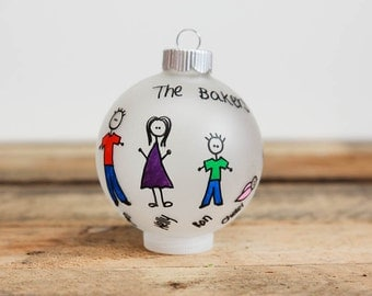 Personalized Family Christmas Ornament (Up to 10 Family members)