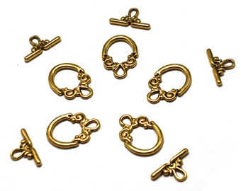 Ornate Gold Toggle Clasp:  Toggle - 14mm x 20mm; TBar -  9mm x 17mm  (10)