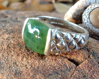 Sterling Silver and Jade Ring Size 7.75