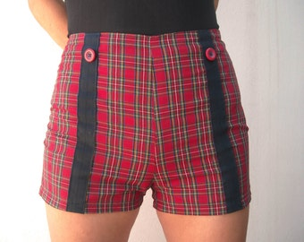 Red plaid shorts | Etsy