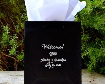 65 Personalized Wedding Hotel Welcome Bags, Custom Printed Out of Town Guest Bags, Wedding Weekend Bags, Foil Printed Bags, Custom Gift Bag