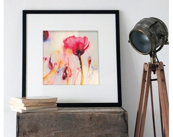Watercolor Print . Wall Art print of poppies. Poppy field poster.
