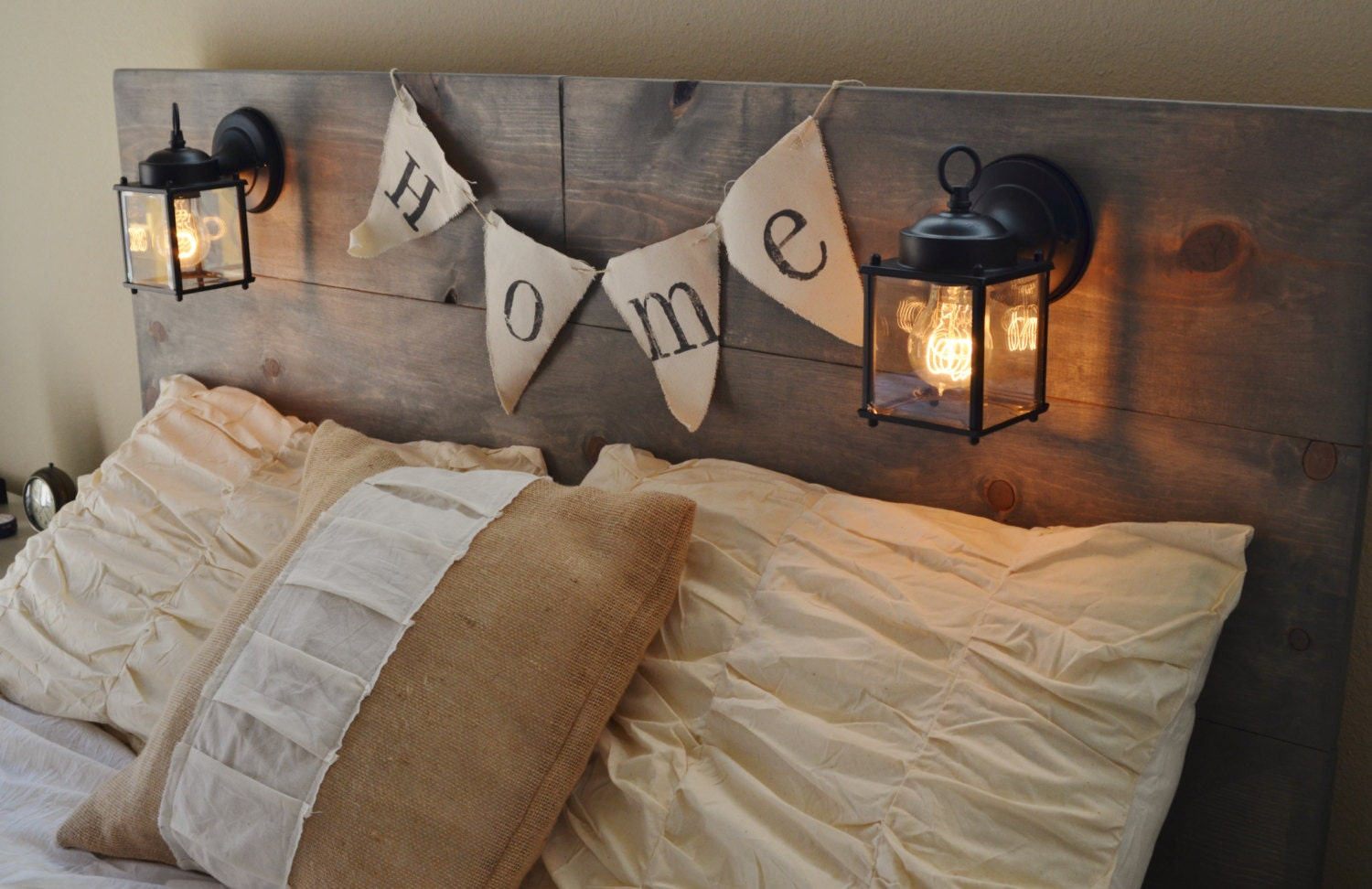 Rustic bed headboard - Wood Rustic Headboard With Black Built In Lighting Cordoba