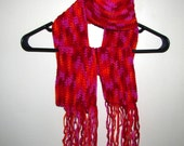 SALE - Sangria Print Crochet Scarf with Fringe