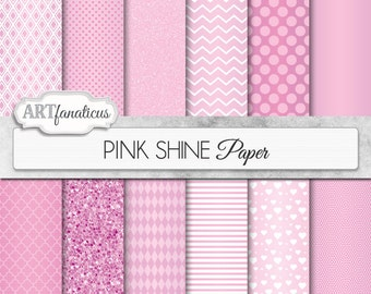 "Pink Metallic digital papers ""PINK SHINE"" pink papers with quatrefoil, chevron, dots, diamonds, harlequin, pink hearts, pink glitter designs"