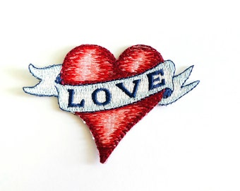 Love Embroidered patches cut edge Sew / Iron On Patch Badge
