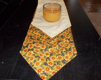 Table runner  approx 10 x 72 Sunflowers and cream color lined