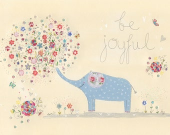 be joyful. Art print. Kids wall art. Nursery decor. Illustration print.