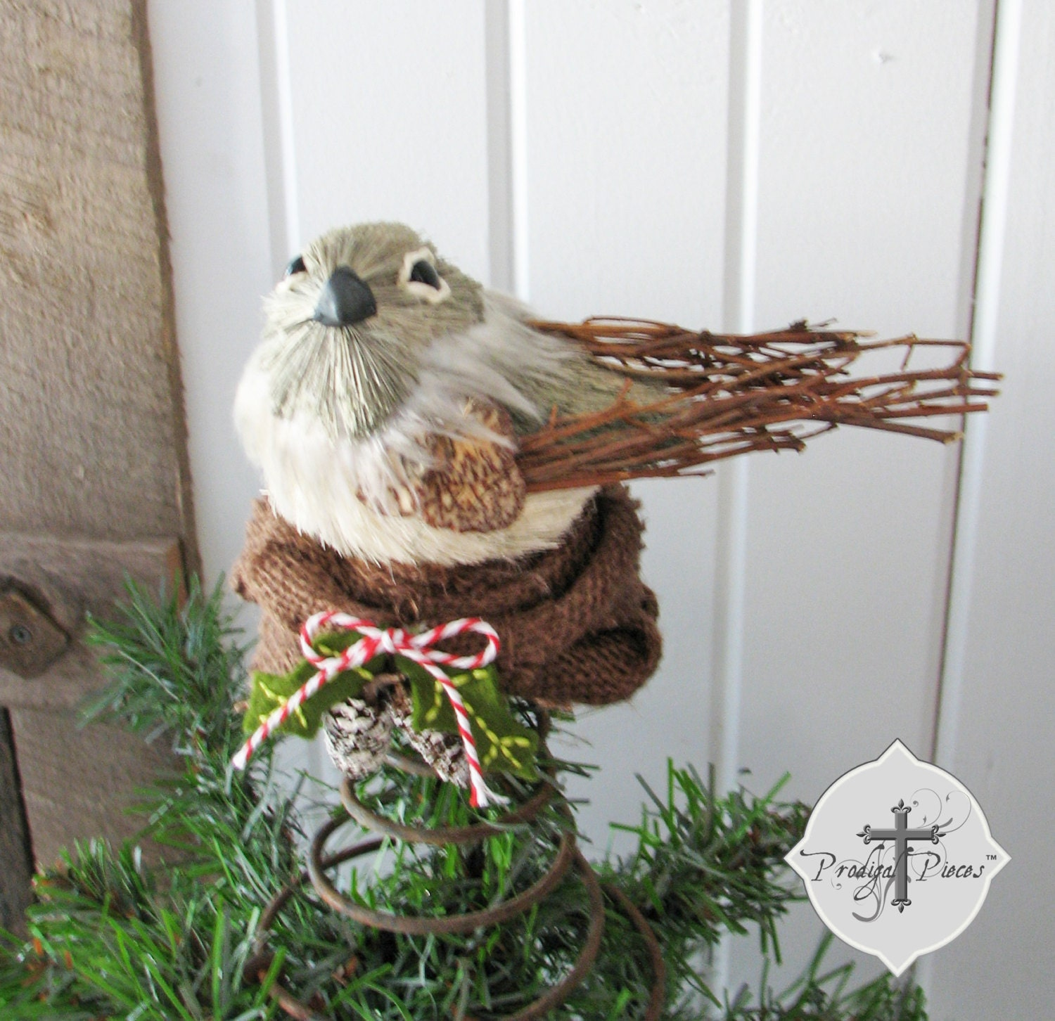 rustic bird 39 s nest christmas tree topper made with. Black Bedroom Furniture Sets. Home Design Ideas