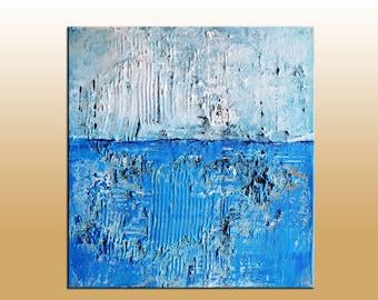 SALE Original Modern Abstract  Art Heavy Textured Minimalist Impasto Blue Mixed Media Fine Art Painting 12x12