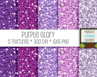 SALE - Glitter Paper Textures - Digital Scrapbooking Cards Invitations - High Resolution - Purple Glory - 300 dpi - CU OK