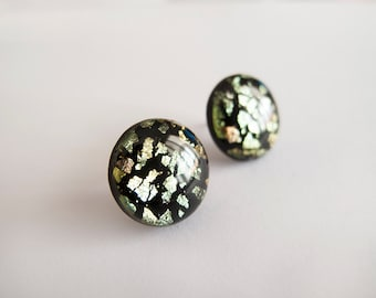 Black Silver Green Round Stud Earrings - Hipoallergenic Surgical Steel Posts