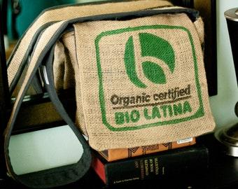 "Repurposed Jute Coffee Sack Messenger Bag - ""Bio Latina"" by FanGirl. SuperHero."