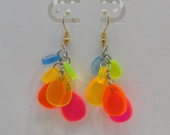 Rainbow dangle earrings with silver and gold tone Spring earrings Set #3