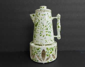 Vintage Spatterware Coffee Pot and Warmer