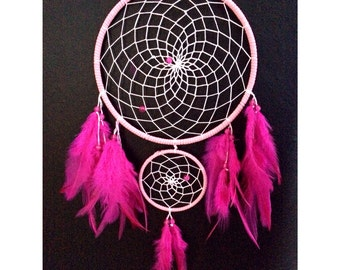 Pink dream catcher, double hoop, faux suede, white web, pink feathers and bead finish 15cm diameter dreamcatcher hand made