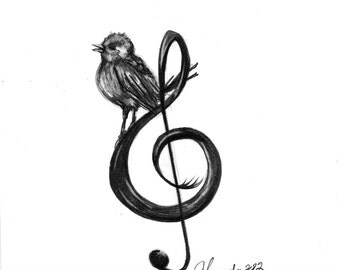 Pencil Drawing Print - Songbird - Day 221