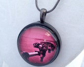Mars Curiosity rover necklace - robot arm in Barbie pink - space jewelry