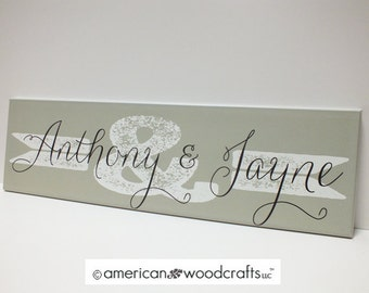 "Wedding Sign Ampersand & Sign Name Sign Personalized Family Name Sign 7""x24"" established"