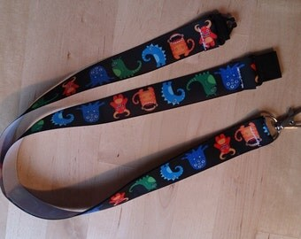 Cartoon Monsters Ribbon Lanyard / ID Badge Holder