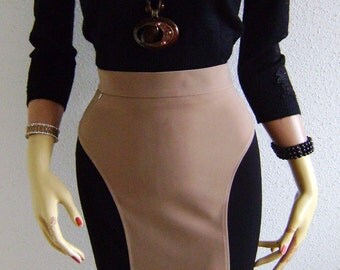 Pencil Skirt Pencil Bicolore Camel Black & Slimming Cut