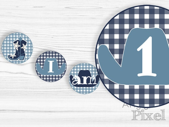 Instant download - I am 1 highchair banner - printable circles - boy western birthday party